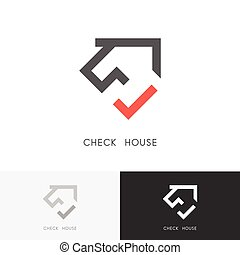 casa, cheque, logotipo
