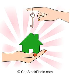 casa, chiave verde, mani