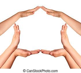 casa, childrens, gesto, manos
