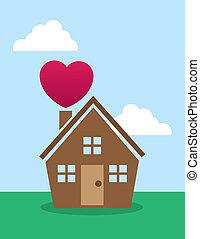 casa, chimenea, corazón