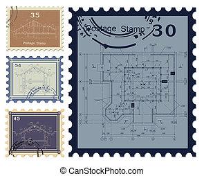 casa, cianotipo, stamped., vector