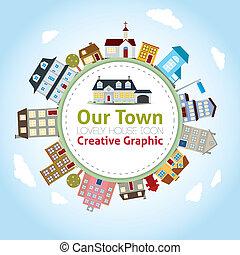 casa cidade, nosso, encantador, ícones
