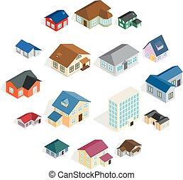 casa città, cottage, set, isometrico, 3d, stile