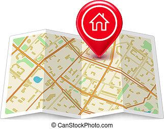 casa, città, etichetta, perno, mappa