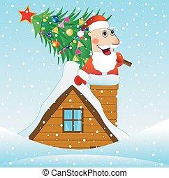 casa, claus, árvore, telhado, santa, natal