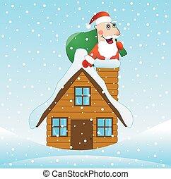 casa, claus, telhado, presentes, saco, santa