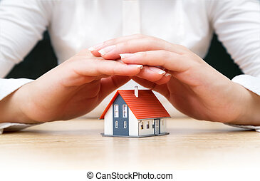casa, coberto, de, mulher, mãos
