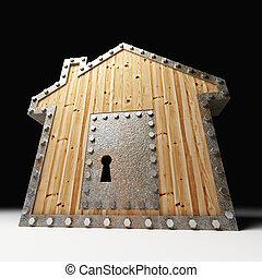 casa, cofre, madeira