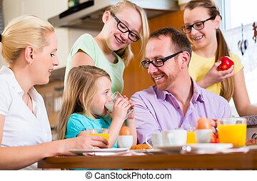 casa, colazione, detenere, famiglia, cucina