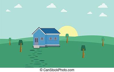 casa, colina, paisagem, manhã