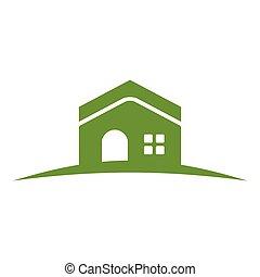 casa, colina verde