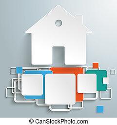 casa, coloreado, fundación, cuadrados, piad, infographic