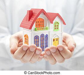 casa, coloridos, mãos