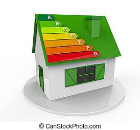 casa, com, energia, eficiência, níveis