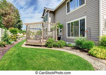 casa, com, quintal, pátio, e, projeto paisagem
