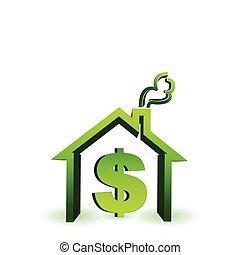 casa, com, sinal dólar, ícone