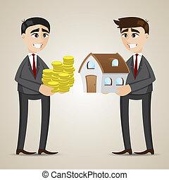 casa, comercio, caricatura, agente, hombre de negocios