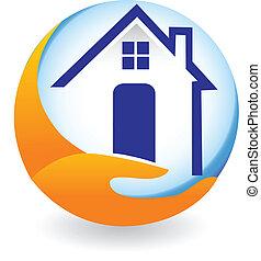 casa, compañía, seguro, logotipo