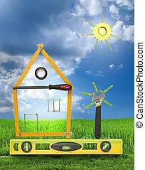 casa, con, árbol, y, sol, hecho, de, herramientas, para, building.blue, cielo, y, pasto o césped, plano de fondo