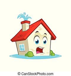 casa, con, acqua, perdite