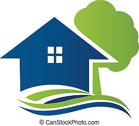 casa, con, albero, e, onde, logotipo