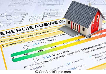 casa, con, energía, ahorro, certificado