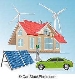casa, con, energía renovable, fuentes