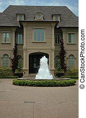 casa, con, fontana