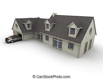casa, con, garage