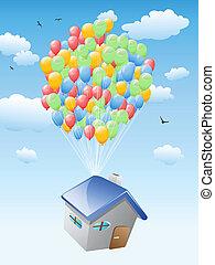 casa, con, globos, vuelo, en, el, cielo azul