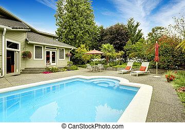 casa, con, natación, pool., bienes raíces, en, federal,...