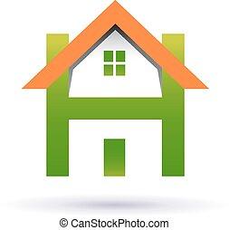 casa, con, porta, e, finestra