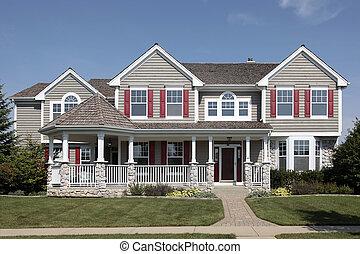 Fronte casa pietra veranda pietra veranda storia for Piani casa due storia avvolgente portico