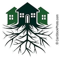 casa, con, raíz