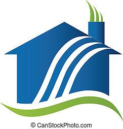 casa, con, reciclaje, aire, logotipo