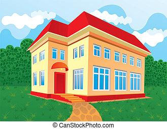 casa, con, rojo, techo