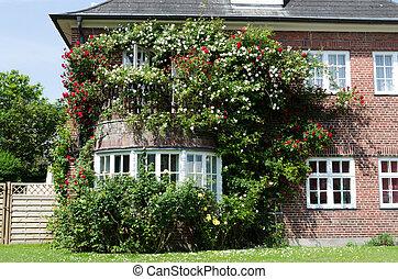 casa, con, rosas
