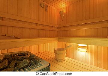 casa, con, sauna