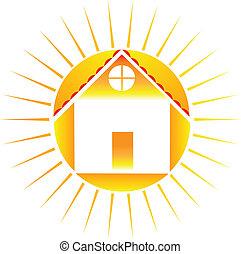 casa, con, sol, logotipo