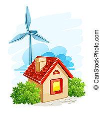 casa, con, turbina del viento, para, energía eléctrica,...