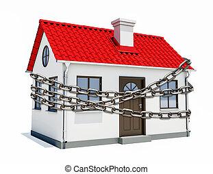casa, con, un, rojo, techo, es, envuelto, en, cadenametálica