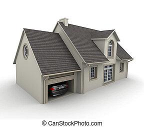 casa, con, uno, garage