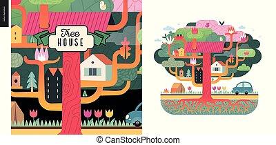 casa, conceito, árvore