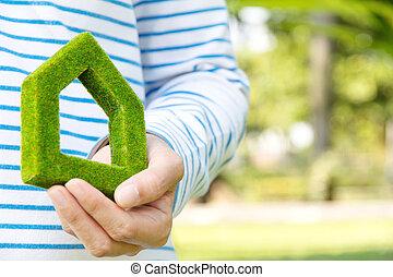 casa, conceito, verde, ícone