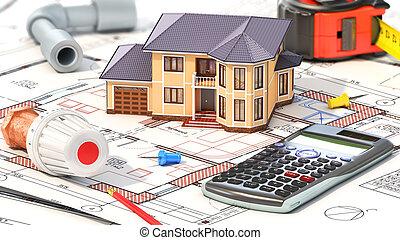 casa, concept., house., aquecimento, ilustração, projeto, partes, construção, blueprints., 3d