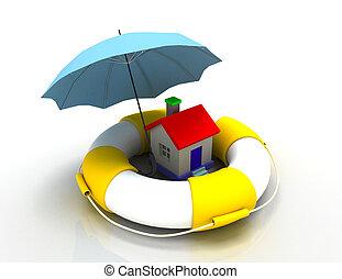 casa, concept., proteção, illustration., 3d