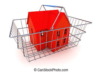casa, concepto, compra