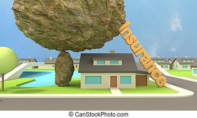 casa, concepto, debajo, insurence, roca