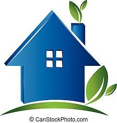 casa, concepto, ecología, logotipo