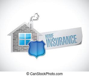 casa, concetto, disegno, assicurazione, illustrazione